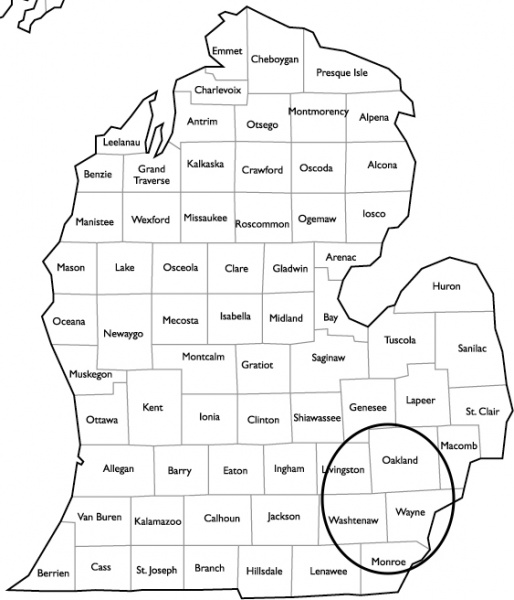 Michigan Service Area Map with Service Area Circled