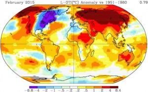 February Global Temperatures Departure