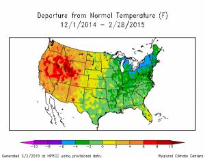 winter temperature departures